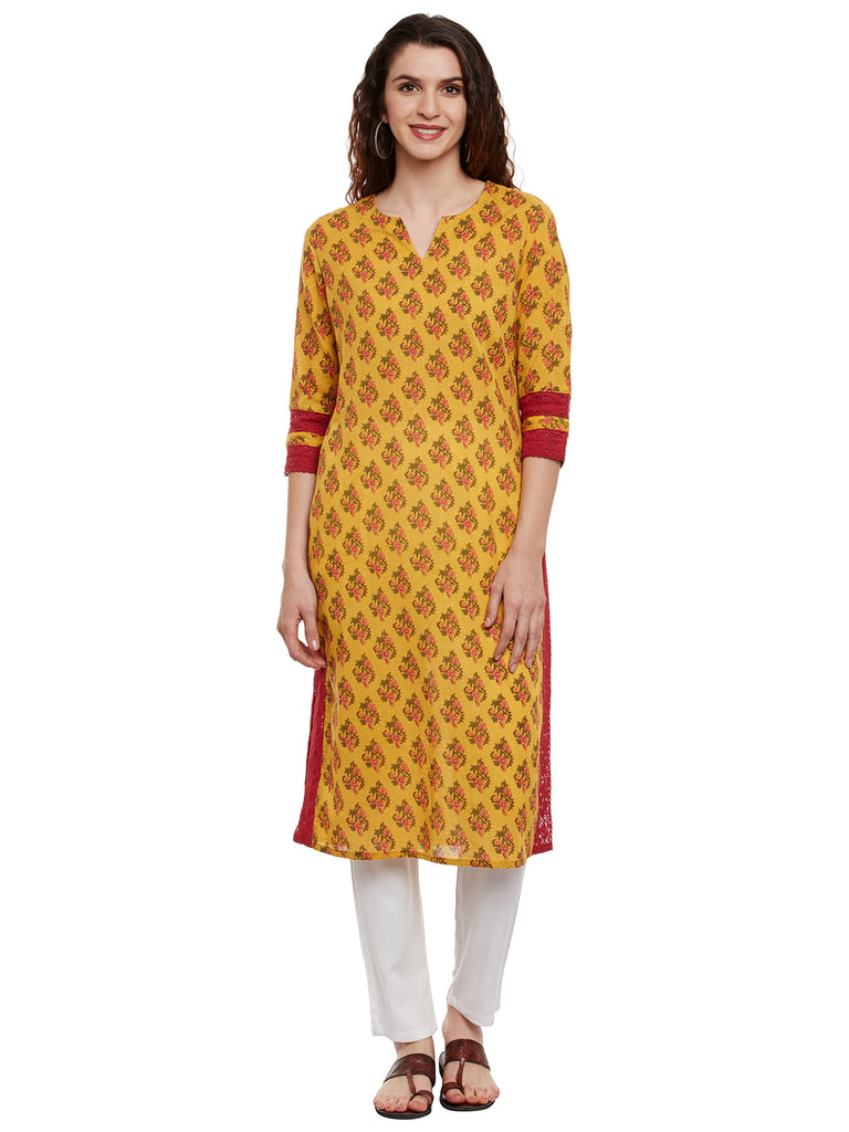 Yellow Block Printed Kurta with Lace Inserts
