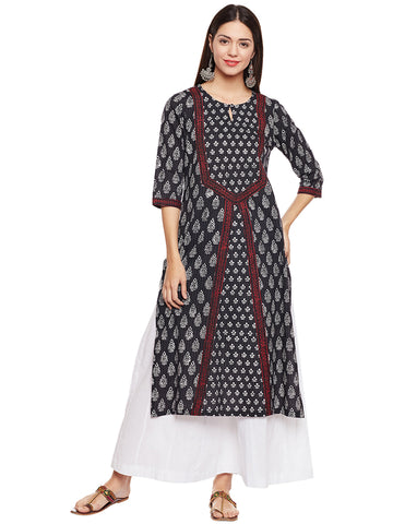 Cotton Kantha Kurta with Yoke
