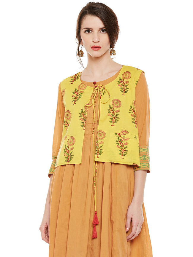 Yellow hand block printed shrug with tie & tassels