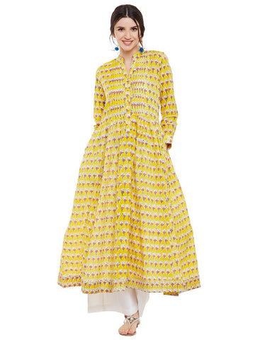 Yellow-Block-printed-pleated-kurta