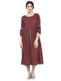Marsala Block printed short dress with lace inserts