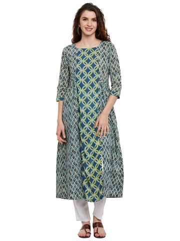 Double block print kurta with front slits