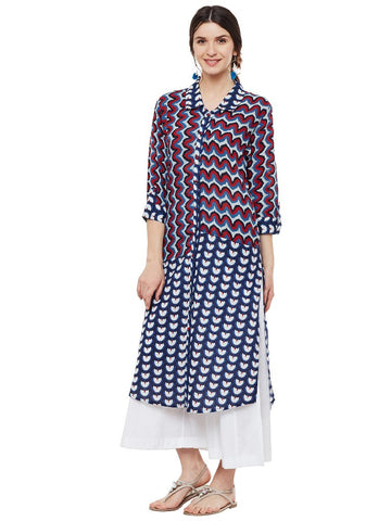 DOUBLE  BLOCK PRINT SHIRT KURTA