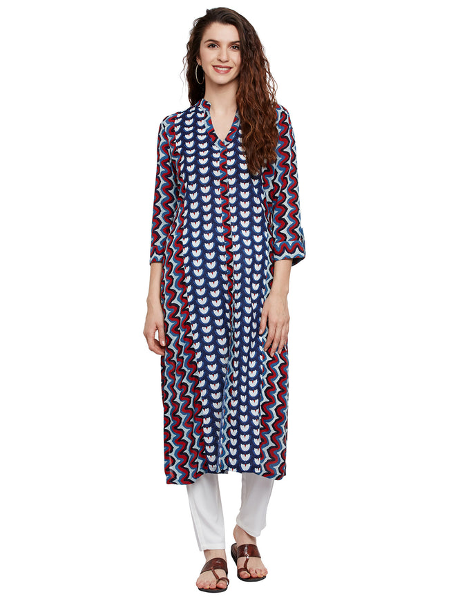 Double Block Print Front Open Kurta