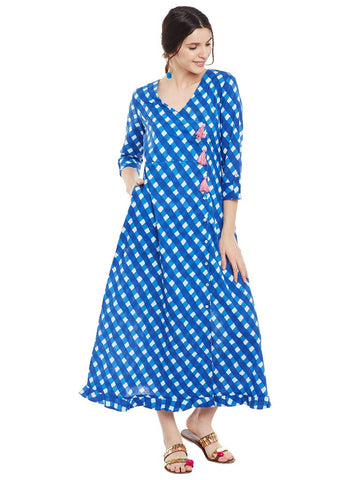 Blue block printed overlap dress with pink tassels