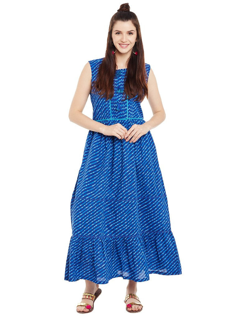 Blue leheriya printed long dress