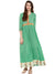 Green cotton anarkali kurta with hand block printed border at hem