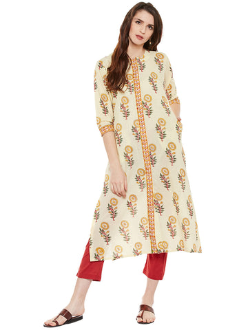 Block printed front open kurta