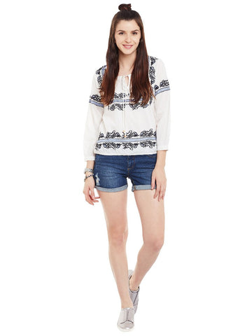 Offwhite-embroidered-full-sleeve-top-with-front-tassel