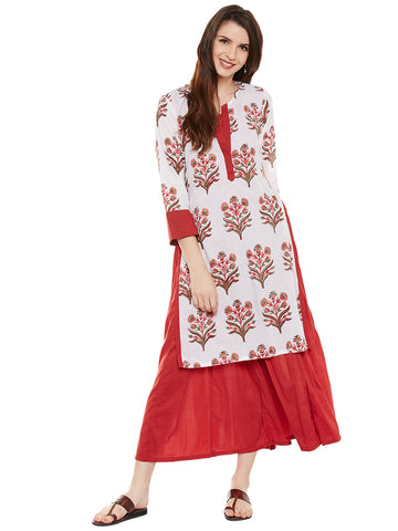 Offwhite hand block printed layered kurta with solid red inner layer