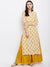 Cream and Yellow Hand Block Printed Straight Kurta with Yoke