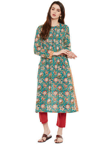 Green Block printed pleated kurta