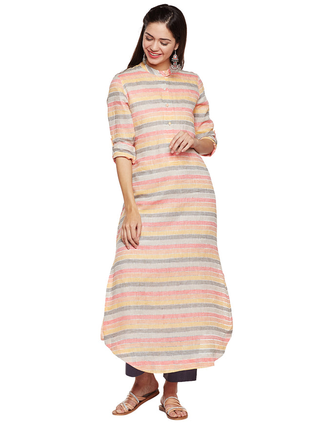 Linen Long Stripe Kurta