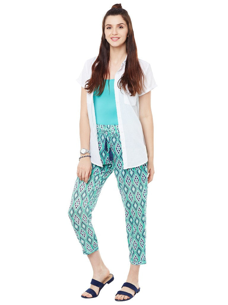 Green printed pants with front tie