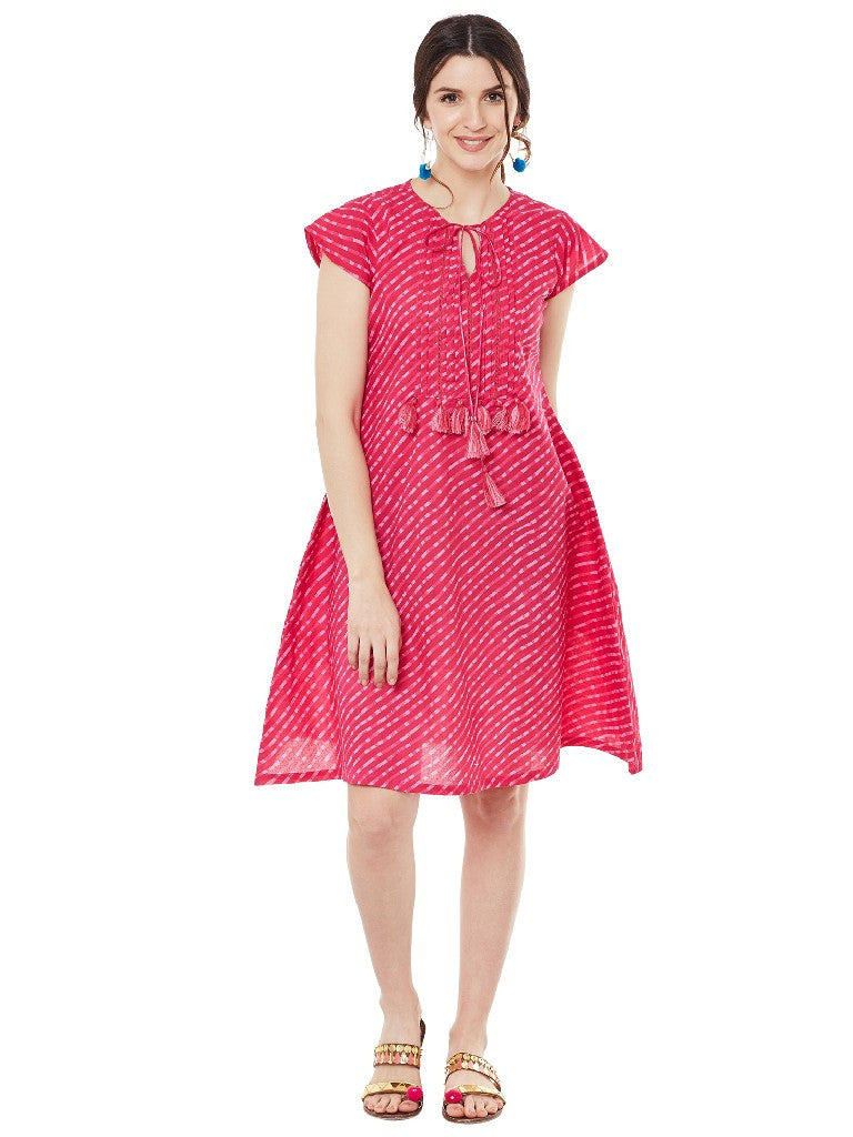 Pink leheriya printed short dress