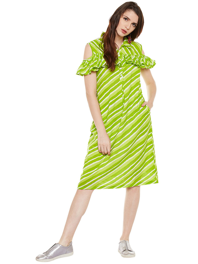 COTTON LEHERIYA DRESS WITH FRILL AT FRONT