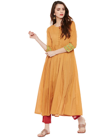 Yellow solid anarkali kurta with front potli buttons
