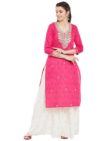 Fushia-kurta-with-gota-patti-work