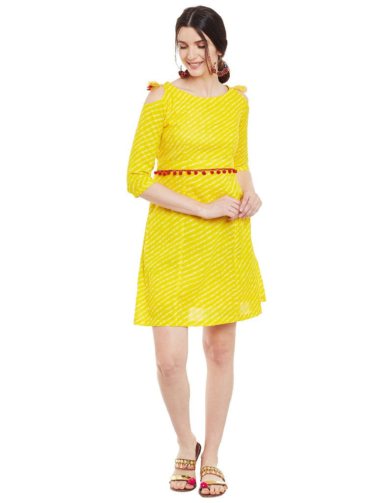 Yellow leheriya printed short dress