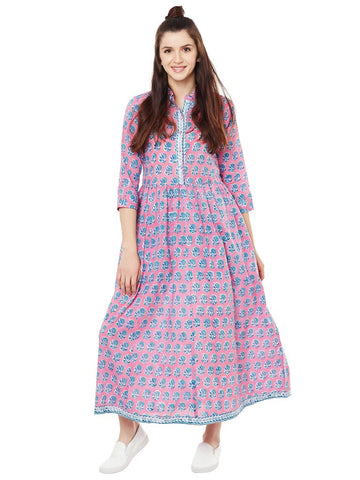 Pink-Block-printed-shirt-dress