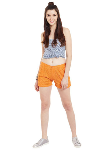 Orange-schiffli-shorts
