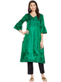 SILK KURTA WITH TASSEL AND STITCH LINE WORK