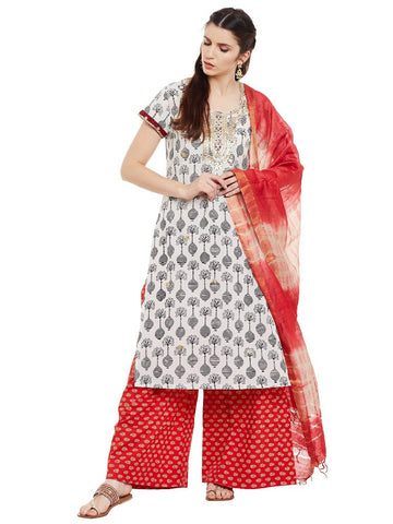 Black & white printed kurta with gota patti work