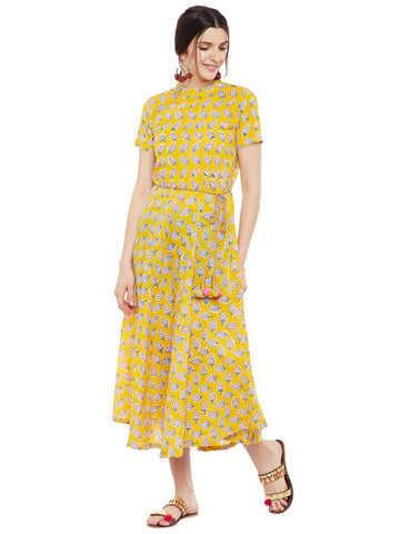 Yellow block printed dress with belt