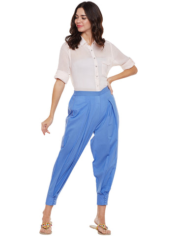 Powder Blue Cuffed Hem Pant
