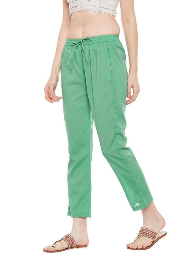 Green cotton straight pant with bead work
