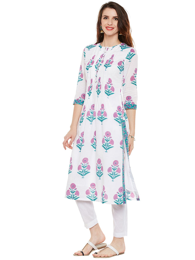 Cotton pleated kurta with mughal print