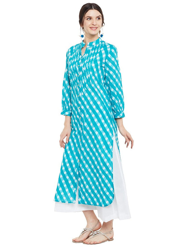 Block printed shirt kurta with raw edge detail