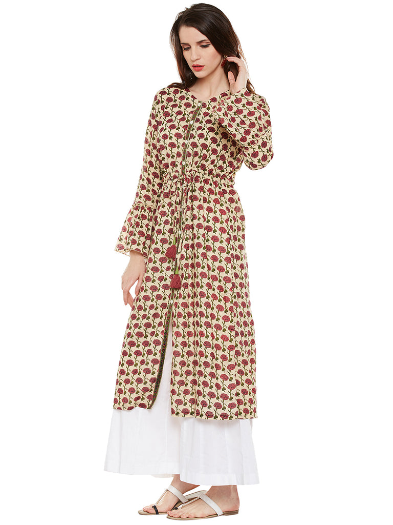 Cotton front open kurta with front tie