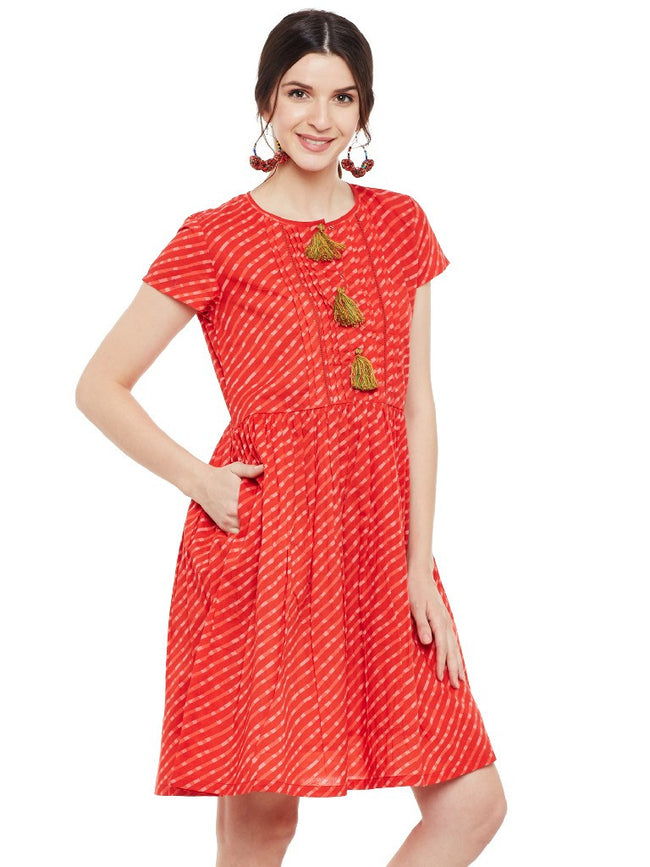 Red leheriya printed short dress