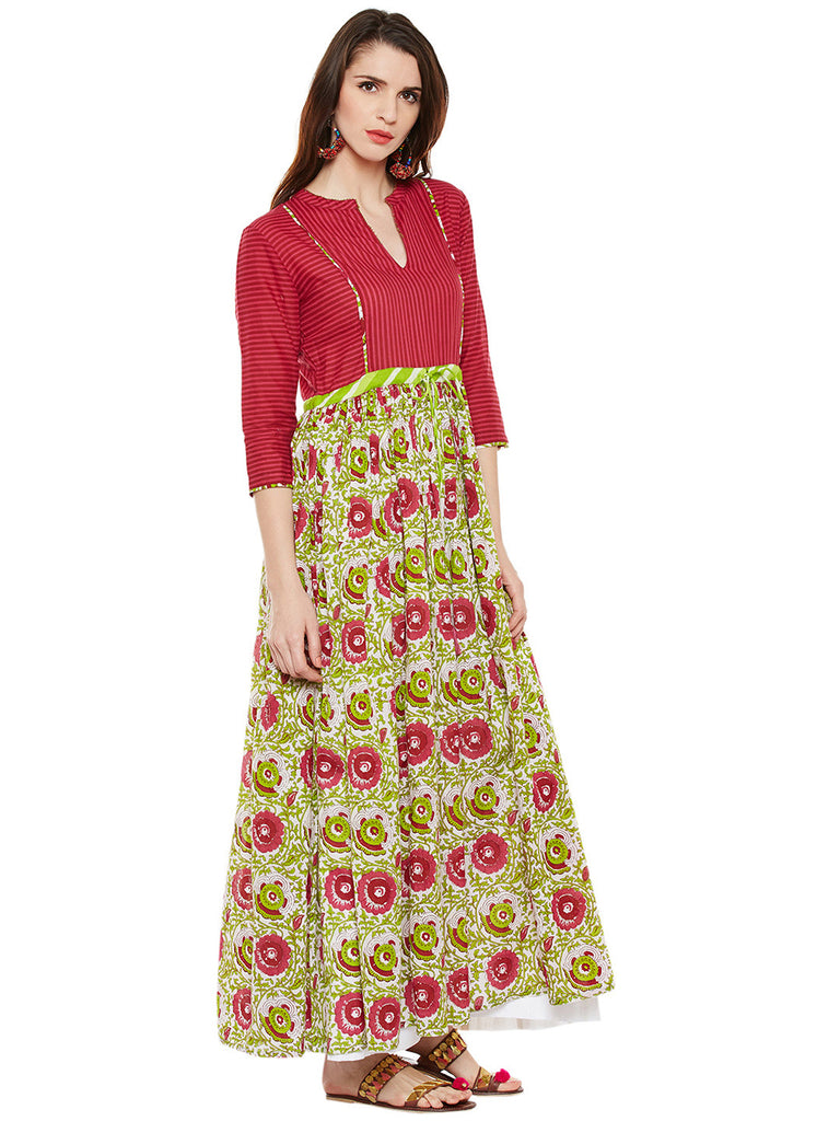 Cotton flared Green- Pink kurta with front tie