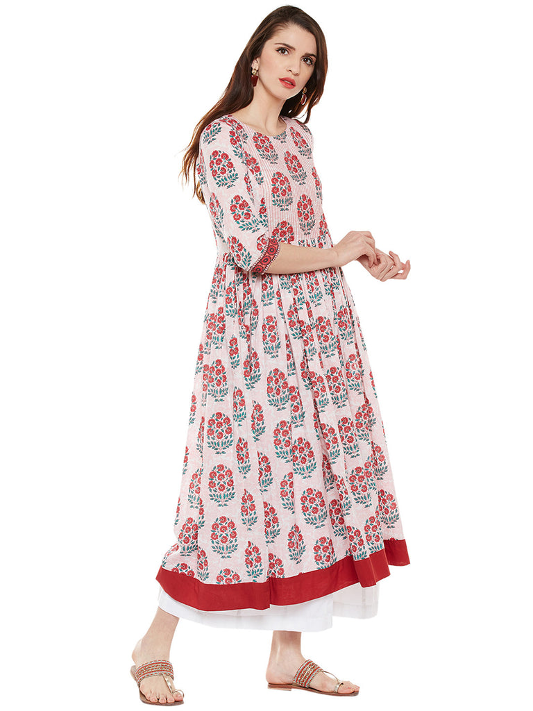 COTTON LONG DRESS WITH STITCH LINES