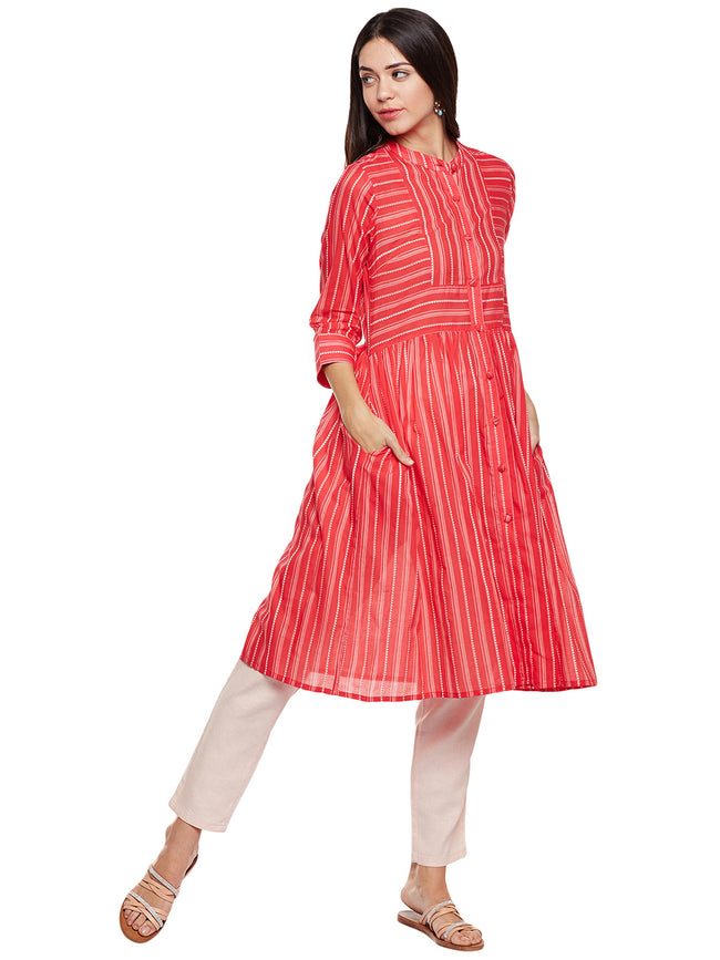 Red printed cotton kurta