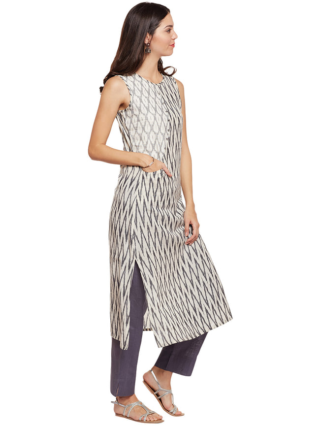 ikat striaght kurta with front pocket