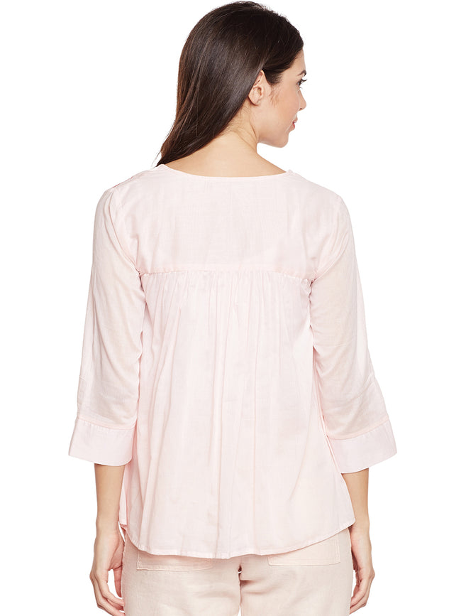 Pink cotton flared top