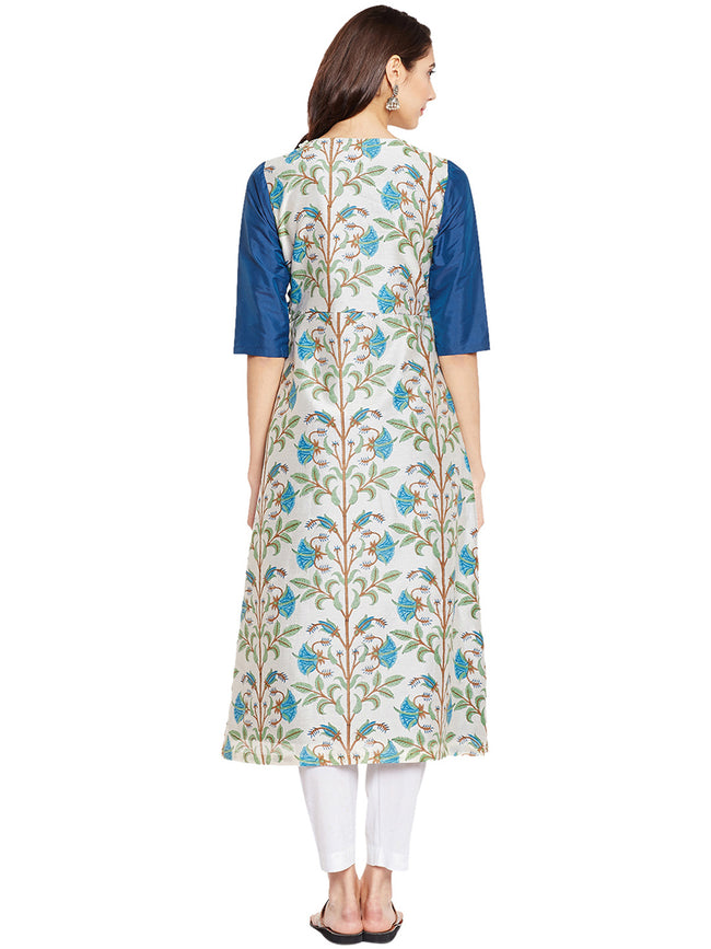 Offwhite Channderi Layered Kurta