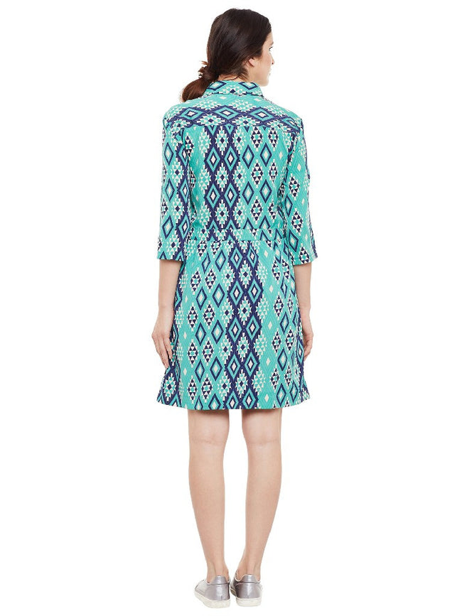 Green-aztec-print-shirt-dress
