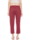 Red cotton straight pant with stitch lines at hem