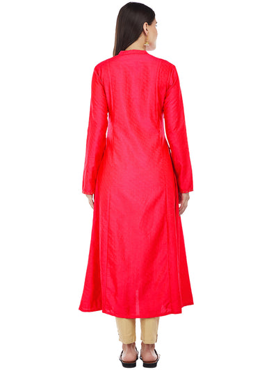 Fuchsia Silk Kurta with Machine Embroidery