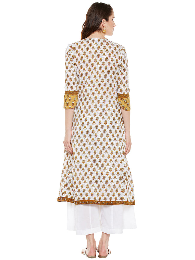Hand block printed cotton overlap kurta