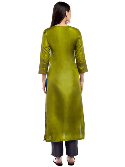 GREEN SILK KURTA WITH TASSEL AND STITCH LINE WORK
