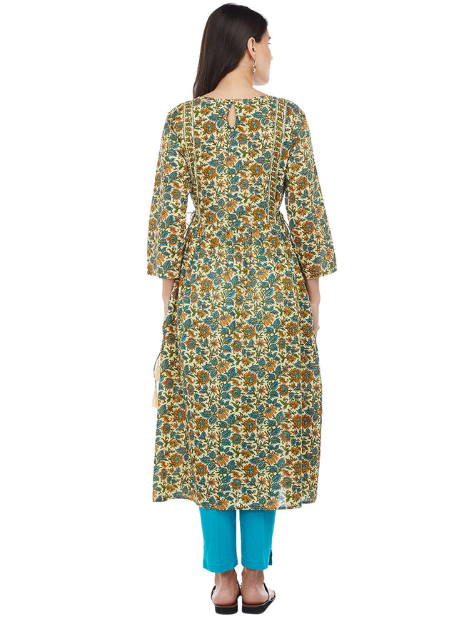 Hand Block Printed Kalamkari Print Kurta with Side Ties