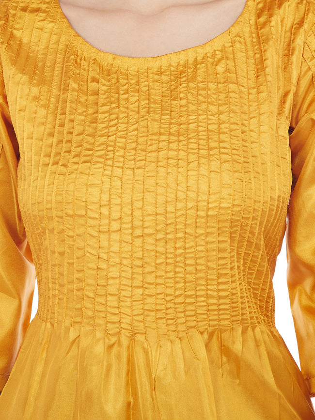 YELLOW SILK KURTA WITH PINTUCKS