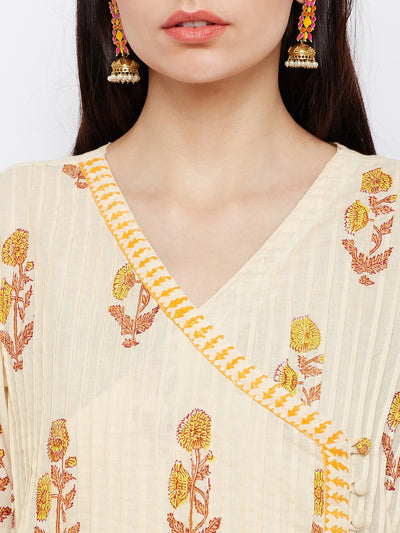 Cream and Yellow Hand Block Printed Overlap Kurta