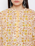 Cream and Yellow Hand Block Printed Straight Kurta with Pleats