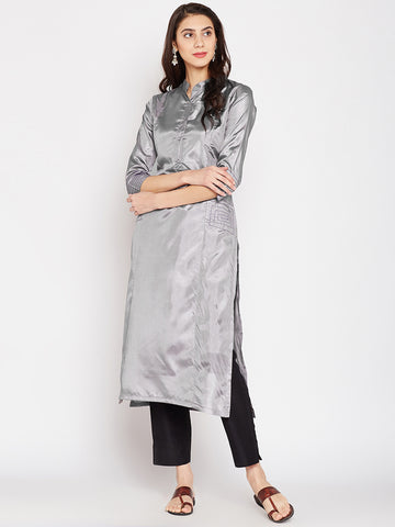 SILVER SILK KURTA WITH TASSEL AND STITCH LINE WORK
